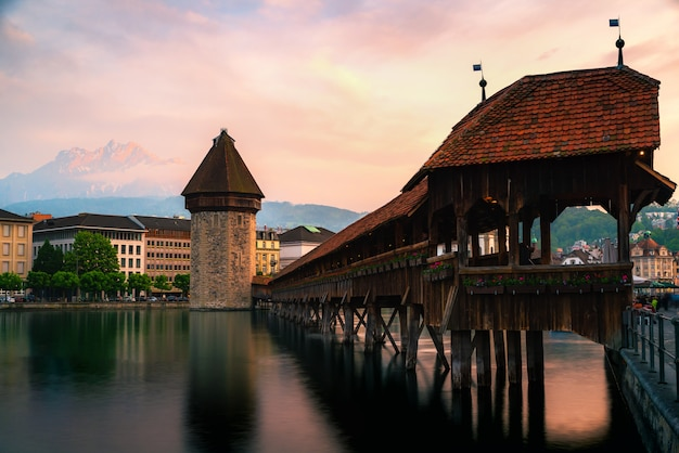 Beautiful historic city center of lucerne with famous chapel bridge in switzerland