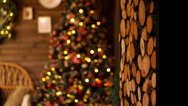 Beautiful holiday decorated room with christmas tree. led lighting, cozy home scene. nobody there.