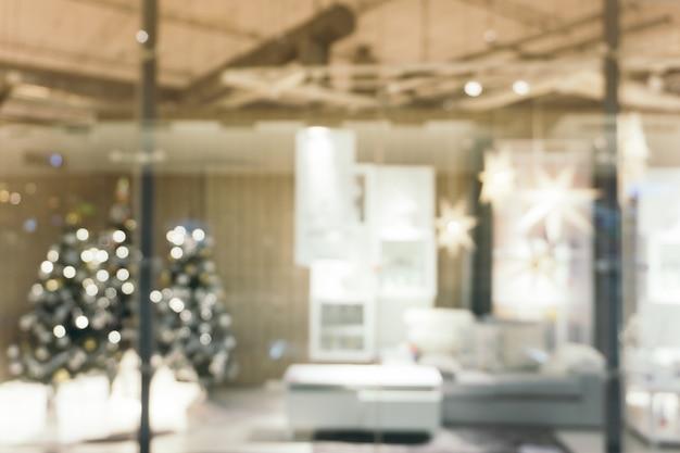 クリスマスツリー、写真の背景のために撮影された焦点の美しい休日の装飾部屋