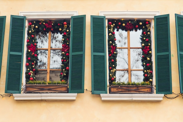 Beautiful holiday windows decorated for christmas. new year
