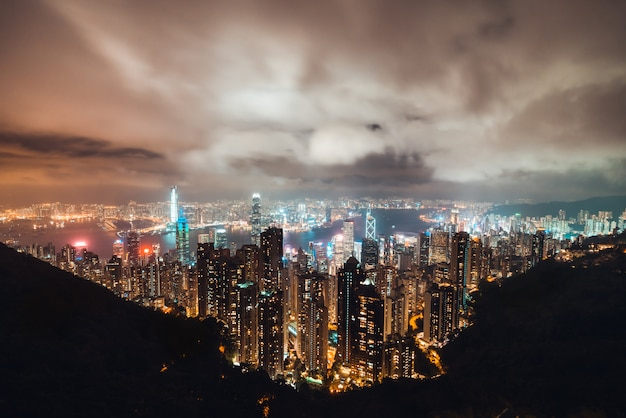 Beautiful hong kong island cityscape, aerial night view.