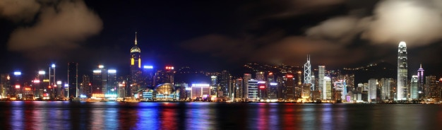 Beautiful hongkong skyline panorama at night