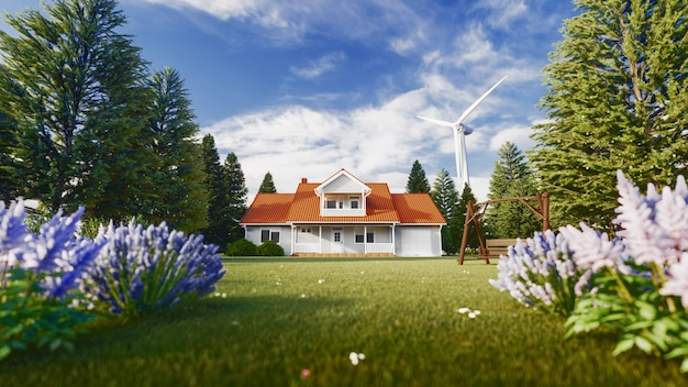 Beautiful house in the nature and wind turbins - concept of sustainable resources. 3d rendering illustration