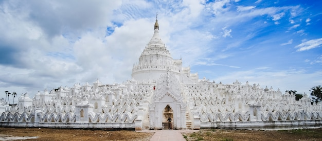 Beautiful hsinbyume pagoda (mya thein dan) or called taj mahal of irrawaddy river