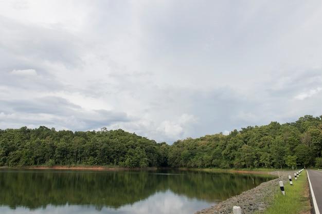 Beautiful huai hong khrai dam and cloud on rainy season
