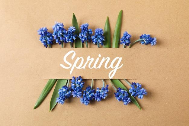 Beautiful hyacinths on craft surface