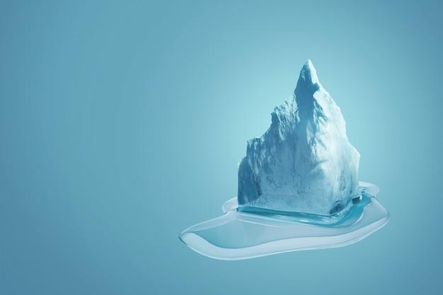 파란색 배경에 녹는 아름다운 빙산의 얼음, 창의적인 아이디어 디자인. 지구 온난화, 개념