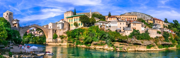 Beautiful iconic old town mostar with famous bridge in bosnia and herzegovina, popular tourist destination