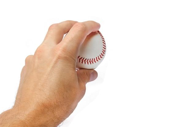 흰 벽에 야구의 손에 아름다운