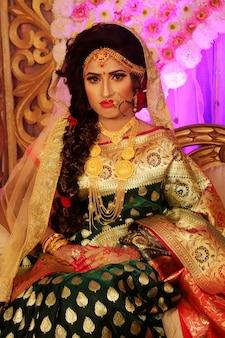 Beautiful indian girl young hindu woman model with jewelry.