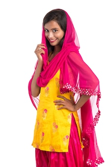 Beautiful indian traditional girl posing.