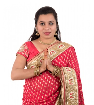 Beautiful indian woman in a traditional costume