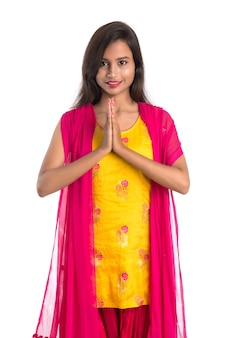 Beautiful indian woman wearing a traditional saree