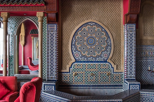 Beautiful interior design of an hotel in tangier city, morocco.