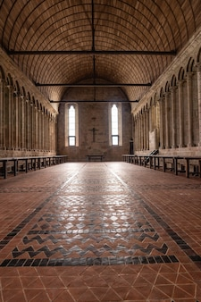 Beautiful interiors of the abbey of mont saint-michel inside, in the department of manche, normandy region, france