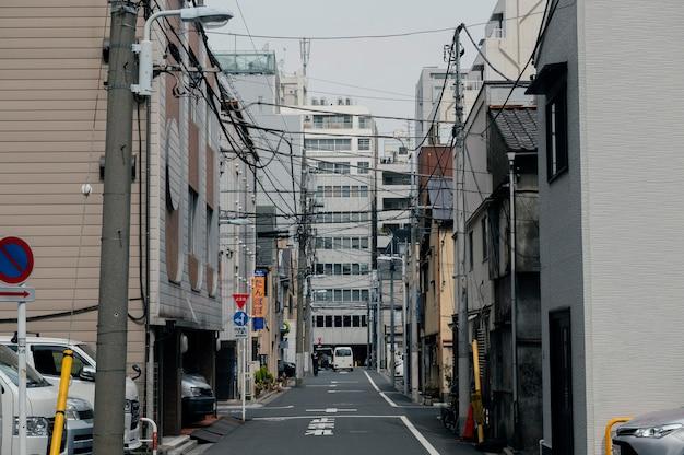 Beautiful japan city with empty street