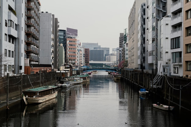 Beautiful japan city with river