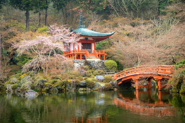 Beautiful japanese garden at daigo-ji temple with cherry blossom during spring season in april in, kyoto, japan.