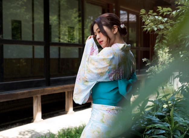 Beautiful japanese woman wearing a traditional kimono