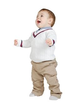 Beautiful joyful kid isolated on white