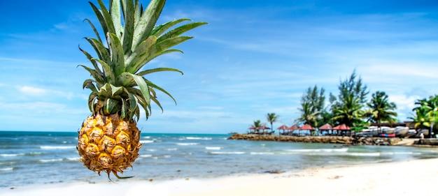 Beautiful juicy pineapple on exotic beach, close-up