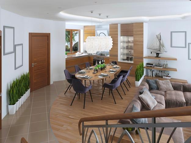 현대적인 스타일로 낮은 수준의 아름다운 주방과 식사 공간 및 거실