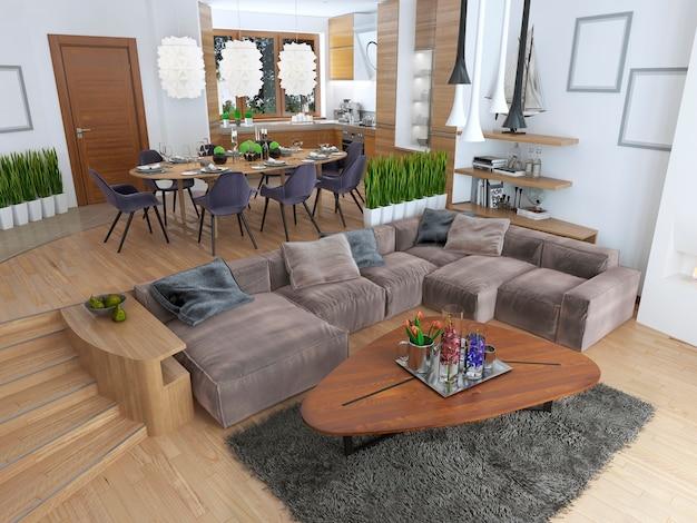 아름다운 주방과 식사 공간, 거실