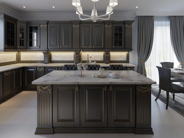Красивая кухня в элитном доме с островом, подвесными светильниками, шкафами и наливными полами. мраморный фартук, элегантные детали. 3d рендеринг