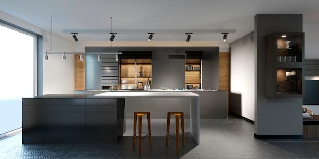 Красивая кухня с темной мебелью нового лофта. 3d-рендеринг.