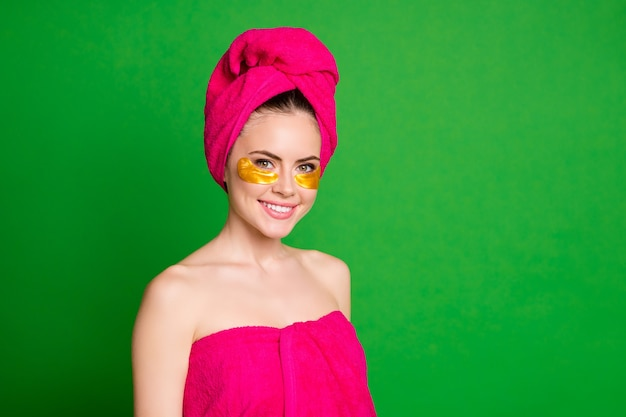 Beautiful lady good mood home spa procedures wear pink towels body head isolated green color background
