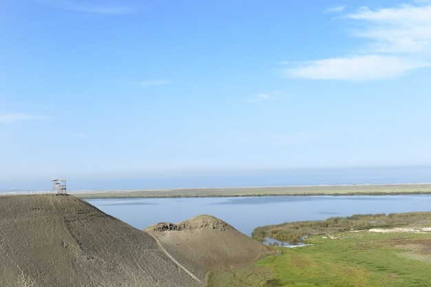 Beautiful lagoon landscape of half a world located in the vegueta district, in huacho.