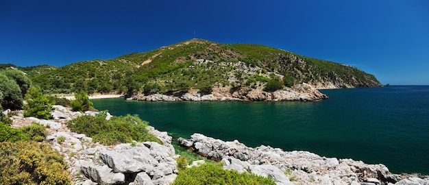 Beautiful lagoon at thassos island, greece