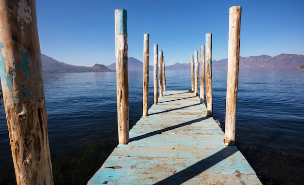 Beautiful lake atitlan and volcanos in the highlands of guatemala, central america