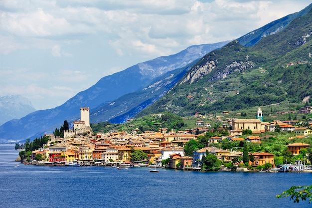 Beautiful lake lago di garda, north of italy. view with castle in malcesine