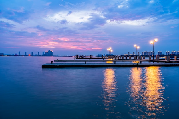 The beautiful lake wharf and the sky in yixing, china