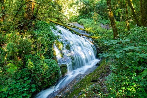 Beautiful lan sa ded waterfall at kew mae pan nature trail in doi inthanon, chiang mai, thailand