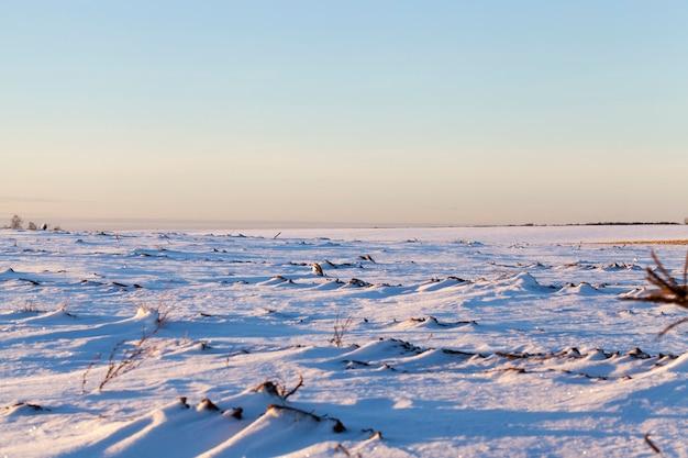 冬の日没時の美しい風景、地球の一部は雪で覆われ、雪のない丘の褐色土壌の2番目の部分、空