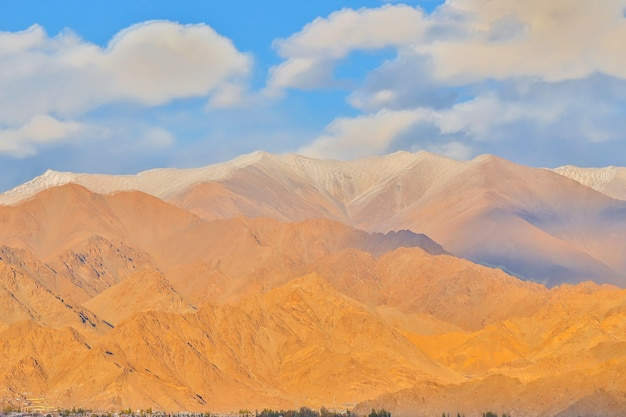 Beautiful landscape, autumn colors and himalayan mountains in october of leh ladakh, northern part of india