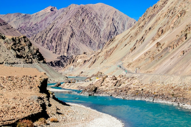 Beautiful landscape, autumn colourful and himalayas mountains in leh ladakh, northern part of india