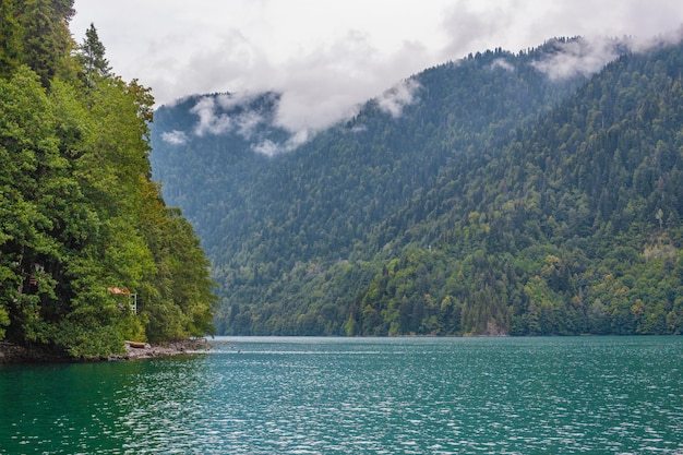 Beautiful landscape on the blue lake ritsa, abkhazia