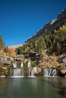 Beautiful landscape of a cascade in ordesa national park in aragonese pyrenees, spain.