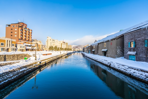 Beautiful landscape and cityscape of otaru canal river in winter and snow season