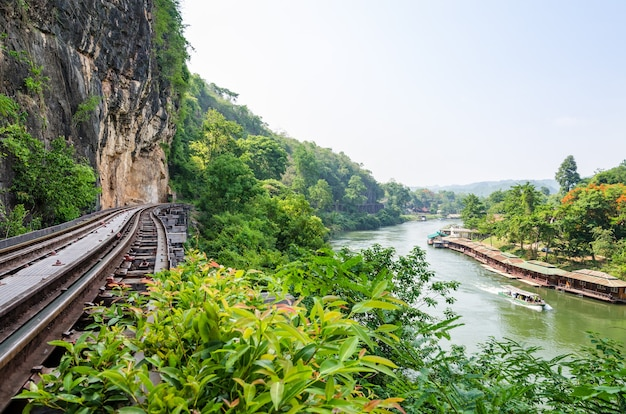 Beautiful landscape death railway bridge over the kwai noi river at krasae cave in kanchanaburi province thailand