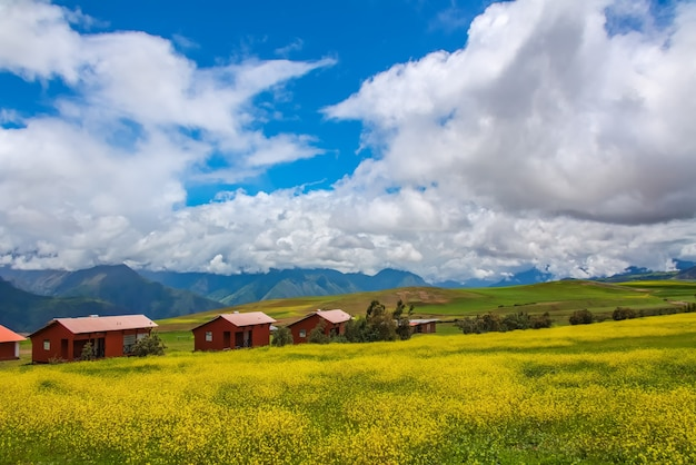 Beautiful landscape of fields, meadows and mountains in peru, south america