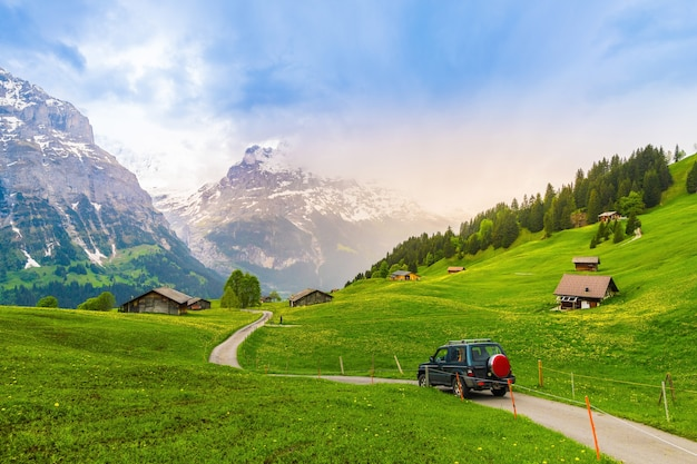 Beautiful landscape of grindelwald , switzerland , the best place for adventure travel