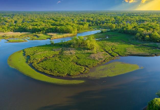 Красивый пейзаж с высоты птичьего полета на зеленую лесную реку летом