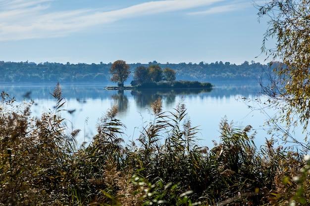 木々や家のある湖の真ん中にある美しい風景の島
