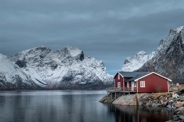 Beautiful landscape in lofoten islands in winter, norway