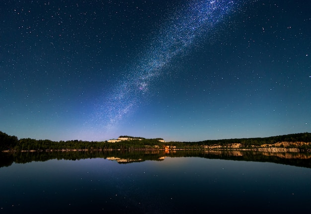Beautiful landscape of the milky way over the lake.
