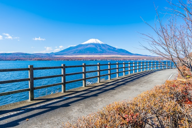 Beautiful landscape of mountain fuji around yamanakako lake
